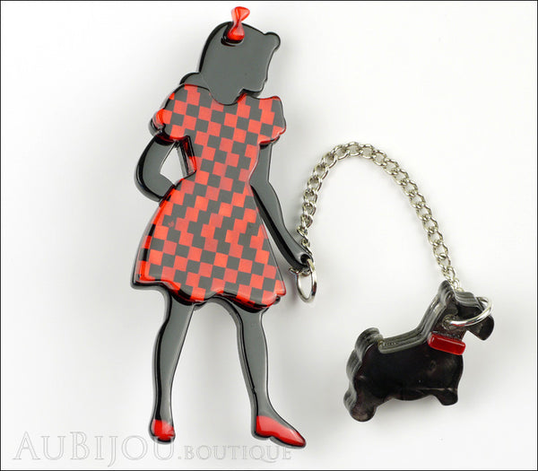 Erstwilder Pin Brooch Deco Girl Dog Walking Wonders Black Red Gallery
