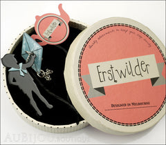 Erstwilder Pin Brooch Franklin's Kite Black Light Blue Box