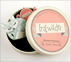 Erstwilder Brooch Pin Sacha Sleeping Fox Mint Polka Dot Box