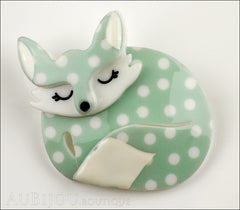 Erstwilder Brooch Pin Sacha Sleeping Fox Mint Polka Dot Front