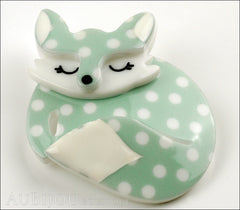 Erstwilder Brooch Pin Sacha Sleeping Fox Mint Polka Dot Side