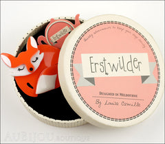 Erstwilder Brooch Pin Sacha Sleeping Fox Orange Box