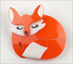 Erstwilder Brooch Pin Sacha Sleeping Fox Orange Front