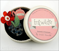Erstwilder Pin Brooch Sally Singing Solo Flower Pot Red Green Blue Box