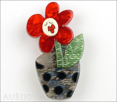 Erstwilder Pin Brooch Sally Singing Solo Flower Pot Red Green Blue Front