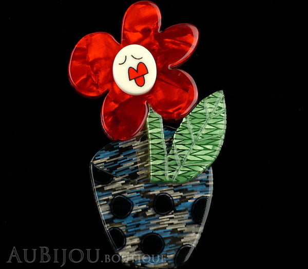 Erstwilder Pin Brooch Sally Singing Solo Flower Pot Red Green Blue Gallery