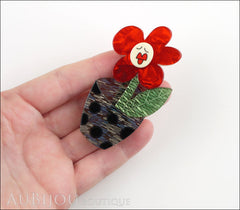 Erstwilder Pin Brooch Sally Singing Solo Flower Pot Red Green Blue Model