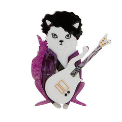 Erstwilder Prince Purple Rain Cat Brooch Pin Front