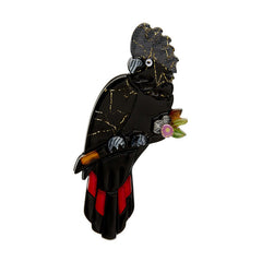 Erstwilder Rohan Red Tail Black Cockatoo Brooch Pin Front