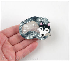 Erstwilder Siberian Husky Dog Brooch Pin Sammy Snow Silver Grey Model