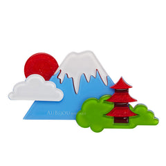 Erstwilder Snow Capped Spendour Mount Fuji Brooch Pin Front