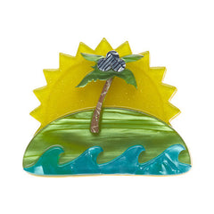 Erstwilder Tiki Time Island In The Sun Brooch Pin Front