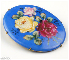Vintage Large Porcelain Handpainted Floral Blue Red Rose Flower Leaf Brooch Pin