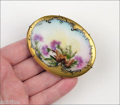 Antique Victorian Porcelain Handpainted Floral Celtic Thistle Flower Brooch Pin