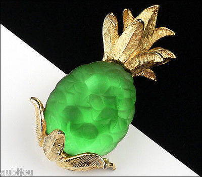 Vintage Napier Frosted Molded Glass Green Pineapple Brooch Pin Fruit Jewelry