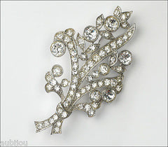 Vintage Bogoff Floral Spray Clear Pave Rhinestone Flower Brooch Pin Jewelry 1950's
