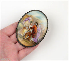 Large Antique Czech Hand Painted Porcelain Brooch Sterling Silver Setting Pin