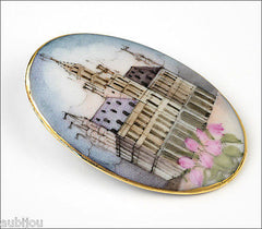 Vintage Porcelain Hand Painted Gothic Revival Cathedral Brooch Pin Renaissance