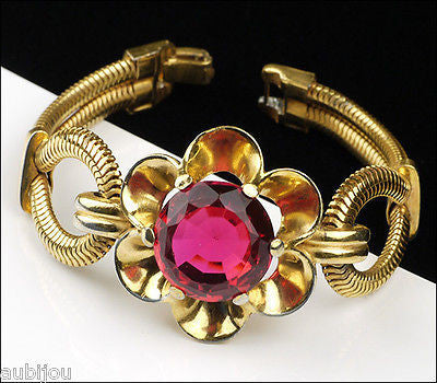 Vintage Rare Crown Trifari Ruby Red Faceted Glass Snake Chain Floral Bracelet 1940's