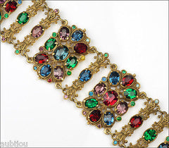 Vintage Czech Ornate Wide Multicolor Rhinestone Bracelet Antique 1920's Art Deco