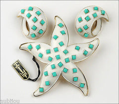 Vintage Crown Trifari White Enamel Faux Turquoise Sea Starfish Brooch Pin Set