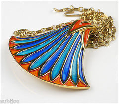 Vintage Crown Trifari Egyptian Revival Blue Enamel Lotus Pendant Necklace Set