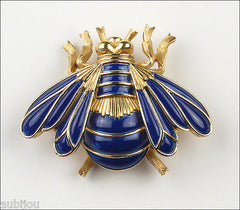 Vintage Crown Trifari Figural Blue Enamel Bee Fly Bug Insect Brooch Pin 1960's