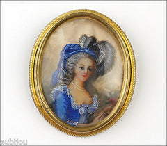 Vintage Hand Painted Porcelain Courbiere Portrait French Rococo Brooch Pin Girl