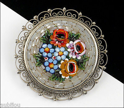 Vintage Italy Mosaic Filigree Floral Flower Brooch Pin Souvenir Forget Me Not