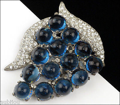 Vintage Pot Metal Montana Blue Bullet Cabochon Pave Rhinestone Grape Dress Clip