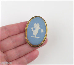 Vintage Wedgwood Van Dell Gold Filled Jasper Blue Porcelain Cameo Brooch Pin