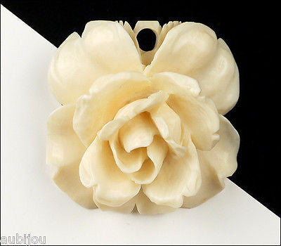 Vintage 3D Hand Carved Bone Floral Flower Rose Brooch Pin Pendant Art Deco 1930's
