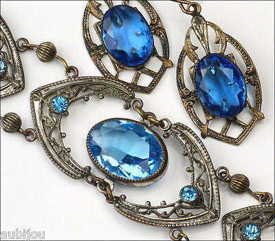 Vintage Czech Sapphire Blue Openback Rhinestone Bracelet Earrings Set 1920's