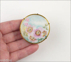 Vintage Porcelain Handpainted Floral Pink Wild Rose Brier Flower Brooch Pin 1920's