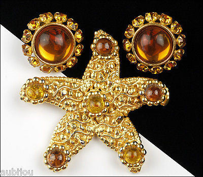 Vintage Dominique Aurientis Starfish Runway Brooch Pin Set Haute Couture France