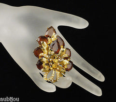 Vintage Signed Art Marked Smoked Topaz Rhinestone Floral Leaf Brooch Pin 1960's