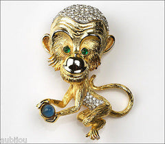 Vintage Large 3D Pauline Rader Figural Rhinestone Chatty Chimp Monkey Brooch Pin
