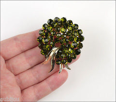 Vintage Trifari Briolette Olivine Glass Rhinestone Brooch Pin Set Drop Earrings