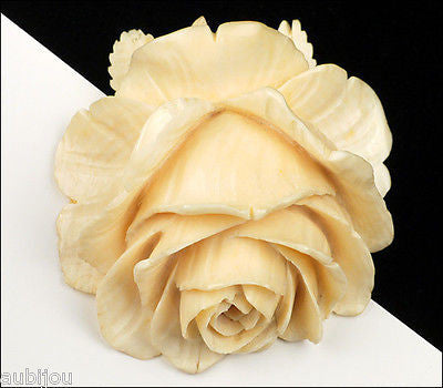 Vintage Large 3D Bone Hand Carved Floral Flower Rose Pendant Art Deco Jewelry