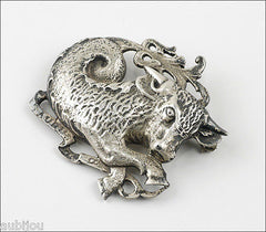 Vintage Cini Sterling Silver Zodiac Taurus Figural Brooch Pin Bull Astrology