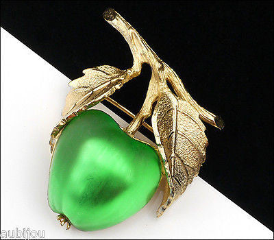 Vintage Napier Frosted Molded Glass Green Apple Brooch Pin Fruit Jewelry 1960's
