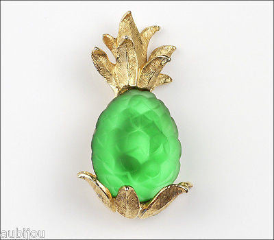 Vintage Napier Frosted Molded Glass Green Pineapple Brooch