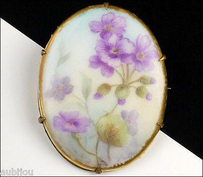 Vintage Porcelain Handpainted Floral Purple Violet Pansy Flower Leaf Brooch Pin