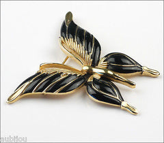 Vintage Trifari Figural Black Enamel Butterfly Insect Brooch Pin Set Earrings 1960's
