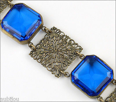 Antique Art Nouveau Cobalt Blue Openback Rhinestone Filigree Bracelet Brass 1900's
