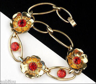 Vintage Simmons Gold Filled Gf Floral Red Rhinestone Flower Bracelet Art Deco