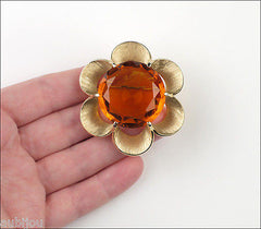 Vintage Crown Trifari Floral Sun Openback Faceted Glass Flower Brooch Pin 1950's