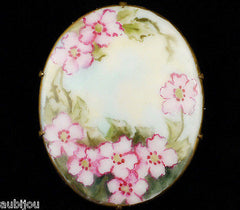 Vintage Porcelain Handpainted Floral Pink Wild Rose Flower Foliage Brooch Pin