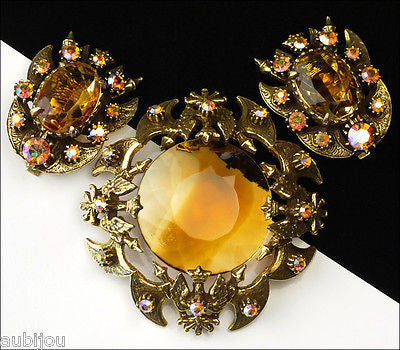 Vintage Florenza Heraldic Coat Of Arms Crown Eagle Jonquil Rhinestone Brooch Pin Set