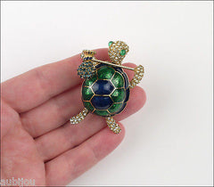 Vintage Ciner Figural Green Blue Enamel Rhinestone Turtle Hobo Brooch Pin Set 1960's